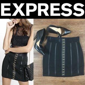 ✨NWT✨Express Black and Gold Hook and Eye Mini Skir